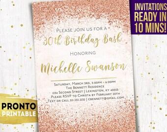 30th Birthday Invitation Invitations Thirtieth 21st Party Invites 60th 50th 40th