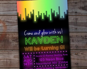 Glow Party Invitation Neon Birthday Printable In The Dark