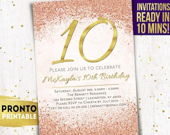 10th Birthday Invitation Girl Party Invite Invitations For Girls Tenth