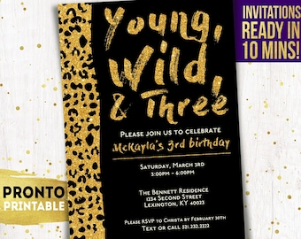 Young Wild And Three Invitations Birthday 3rd For Girls Third Invites