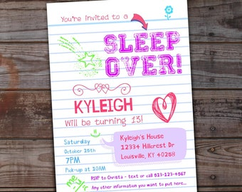 Sleepover Invitation Birthday Invitations Tween Girls