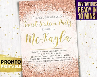 Sweet 16 Invitation Sixteen Invitations Birthday Invite Party Invites 16th Pink And Gold