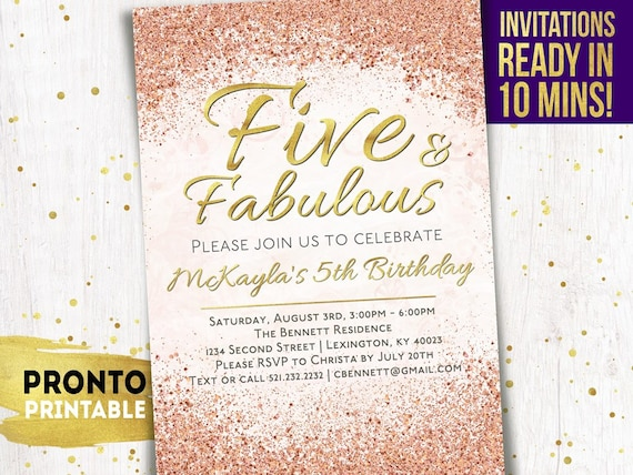 5th Birthday Invitation Five And Fabulous