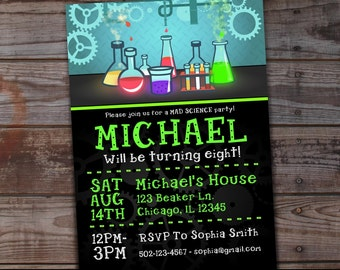 Science Party Invitation, Mad Scientist Invitations, Mad Science Invitation, Mad Science Party Invite, Mad Science Party Invitations