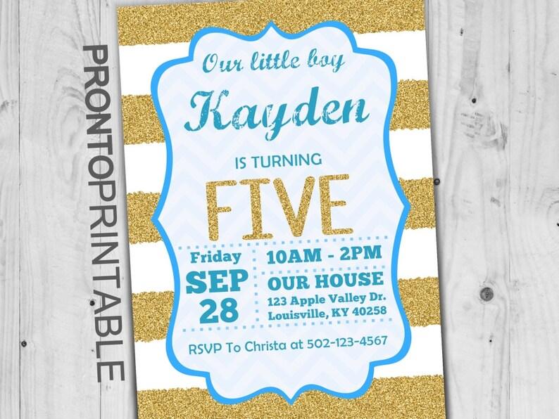 Fifth Birthday Invitation Boy 5th