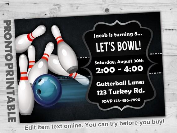Bowling Party Invitations Bowling Birthday Party Invitations Etsy