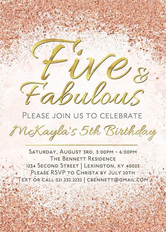 5th Birthday Invitation Five And Fabulous