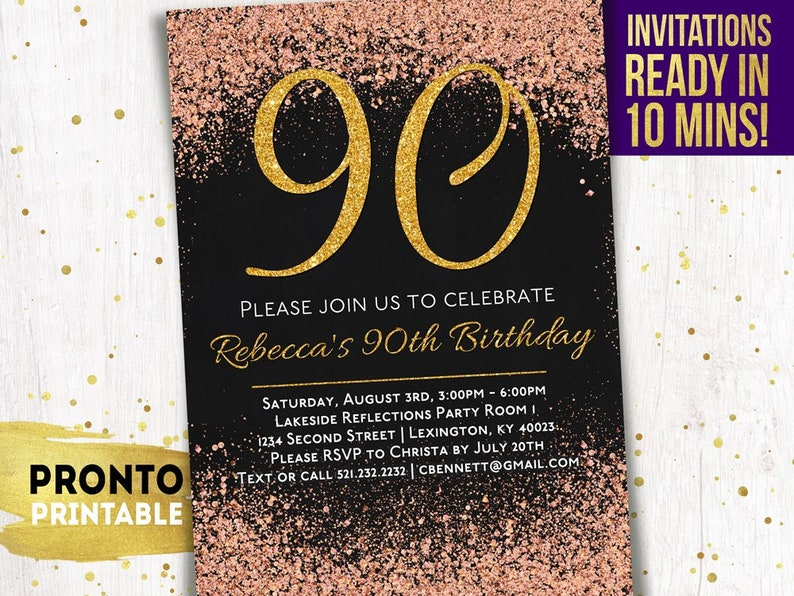 90th Birthday Invitations Printable