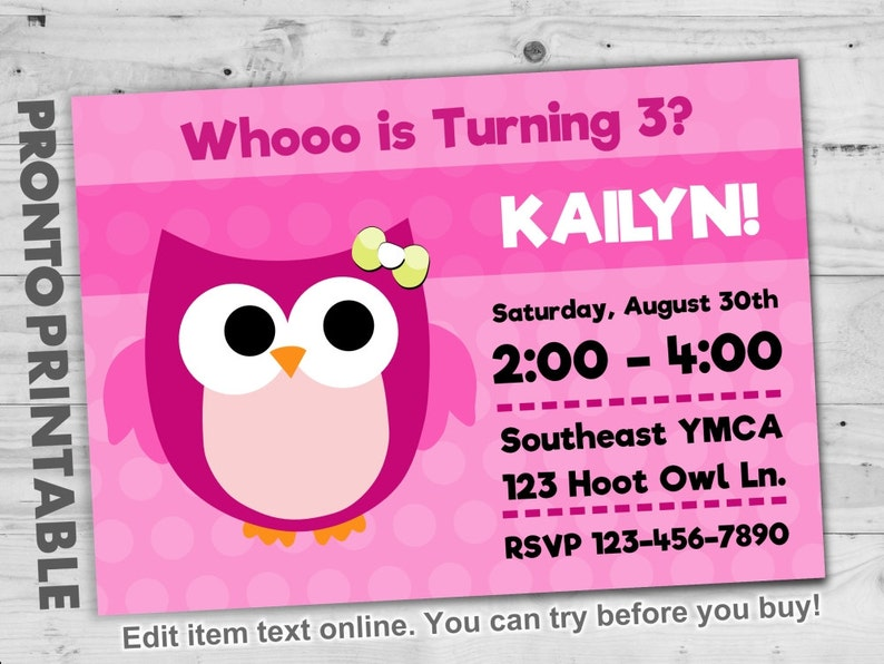Owl Birthday Invitation Pink Party