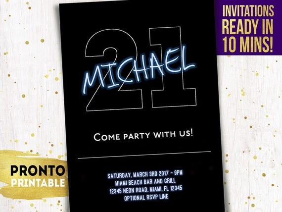 21st Birthday Invitations Guy For