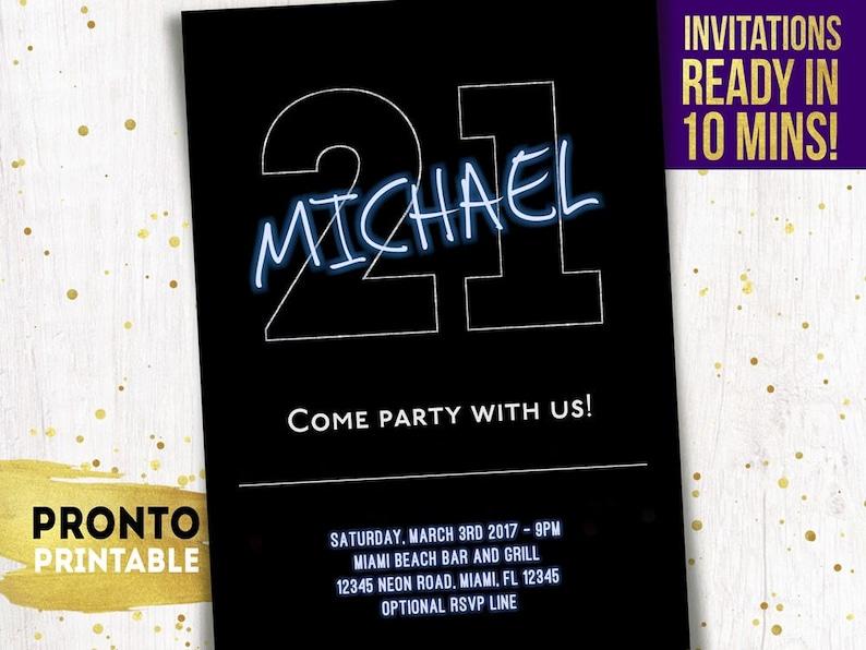 21st Birthday Invitations Guy For