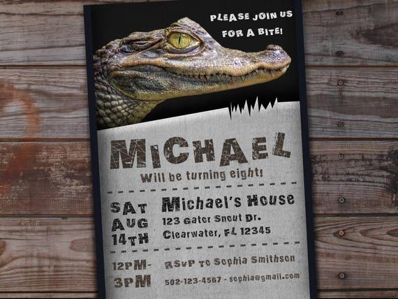 Alligator Birthday Invitation Reptile Birthday Invitation Etsy