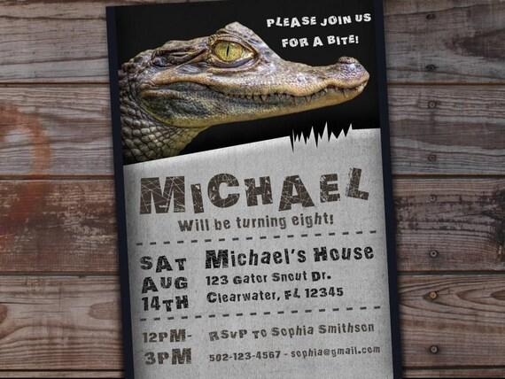 Alligator birthday invitation reptile birthday invitation etsy image 0 filmwisefo