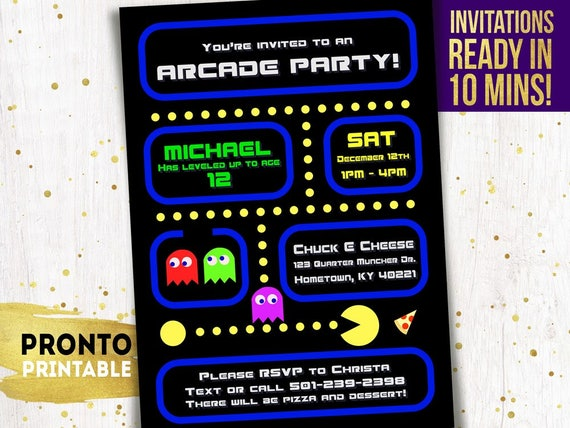 Arcade Party Invitation Arcade Birthday Invitations Arcade Etsy