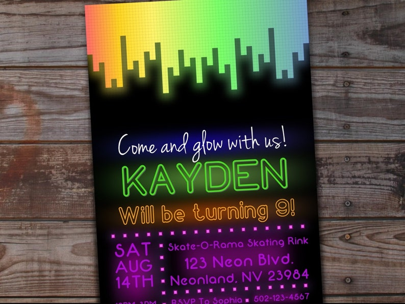graphic relating to Free Printable Glow Party Invitations called Shine Bash Invitation, Neon Birthday Invitation, Shine Birthday Invitation, Neon Social gathering, Printable Birthday, Shine within the Dim Get together