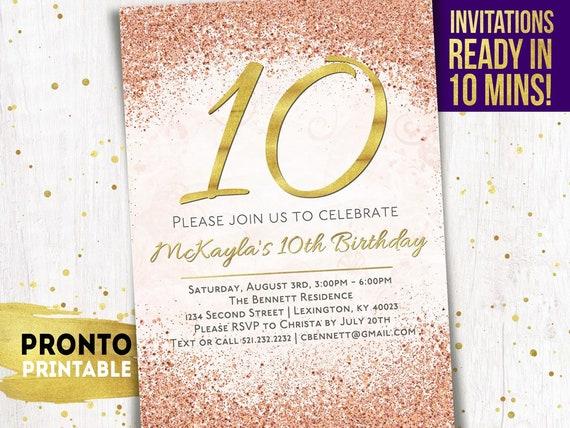 10th birthday invitation 10th birthday invitation girl 10th etsy