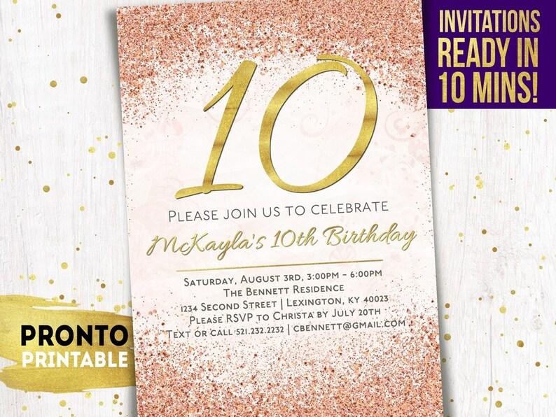 10th Birthday Invitation Girl