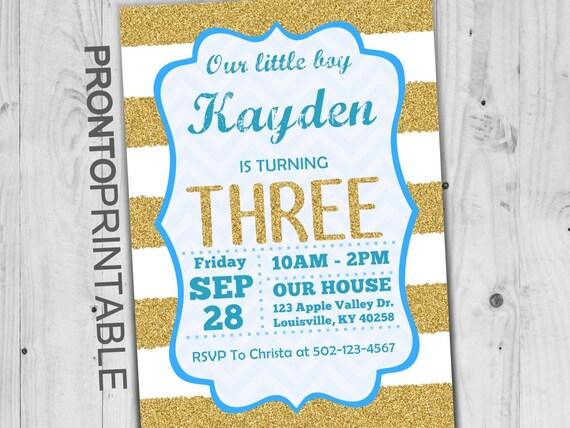 Third Birthday Invitation Boy 3rd