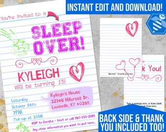 Sleepover Invitation, Sleepover Birthday Invitations, Tween Girls - Sleep Over Party - Slumber Party Invitation - Teen Invitation