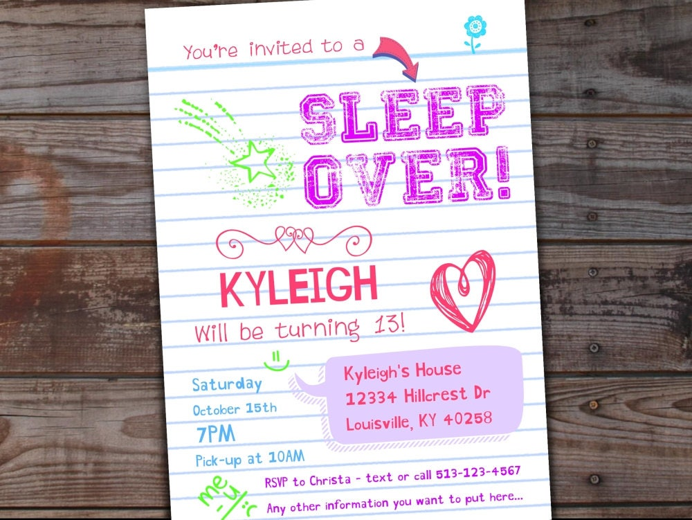 Sleepover Invitation Sleepover Birthday Invitations Tween