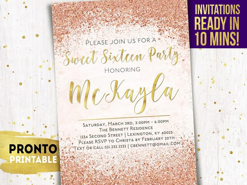 Sweet 16 Invitation Sixteen Invitations
