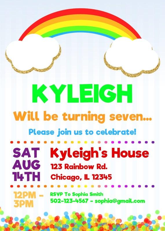 rainbow birthday invitations rainbow party invitations etsy