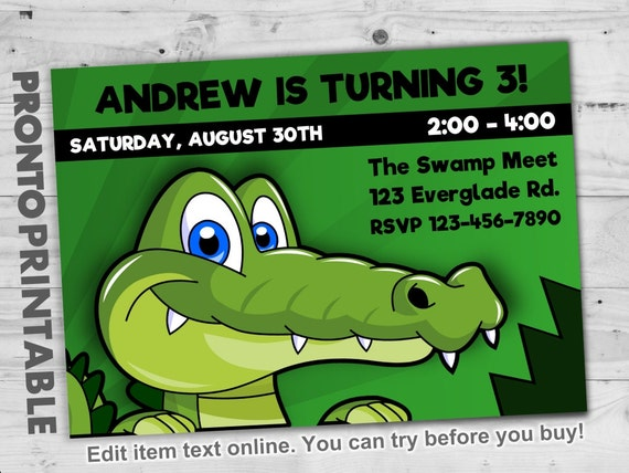 Alligator Birthday Invitation Cute Alligator Birthday Etsy