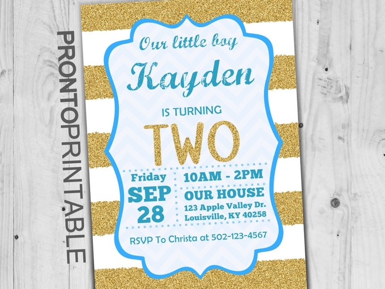 Second Birthday Invitation Boy 2nd