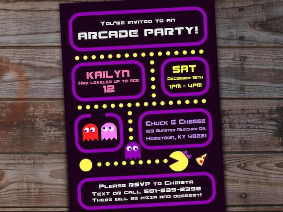 Arcade Birthday Invitations For Girls Girls Arcade Party Etsy