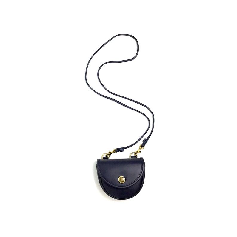 b41209d7 Vintage COACH Navy Blue Pull Lock Closure 0638-222 Genuine Leather Small  Mini Belt Bag Pouch 9826 Style Crossbody Shoulder Bag