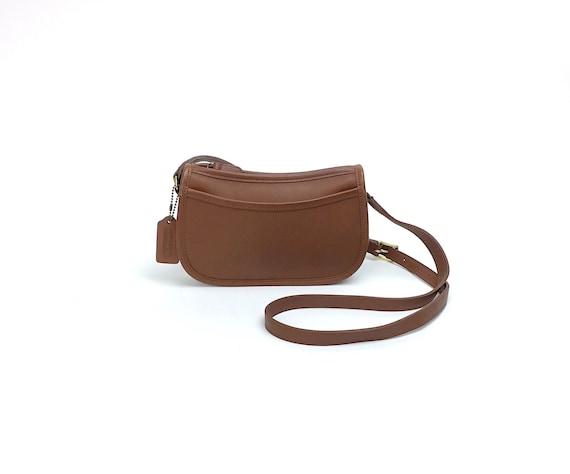 265b86c7 Vintage COACH Wendie Medium Brown Tan 9031 Thick Genuine Leather Small Mini  Top Zip Closure Shoulder Crossbody Bag