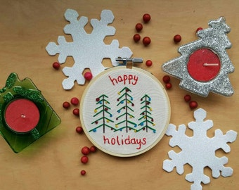 "Happy Holidays Christmas Trees 4"" Embroidery Hoop Art"