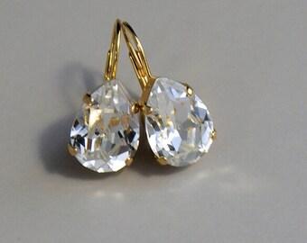 Earrings Bridal, gold or silver, Swarovski