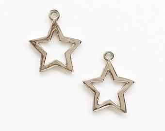 Star pendant etsy silver open star pendant silver star pendant star pendant open star pendant star shaped pendant silver pendant metal pendant 2pc aloadofball Choice Image