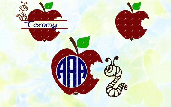 Apple And Worm Monogram Svg Dxf Studio V3 Cut File For Etsy
