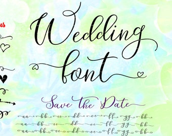 Wedding font svg, eps, cdr, cut file for cutting machines, instant download