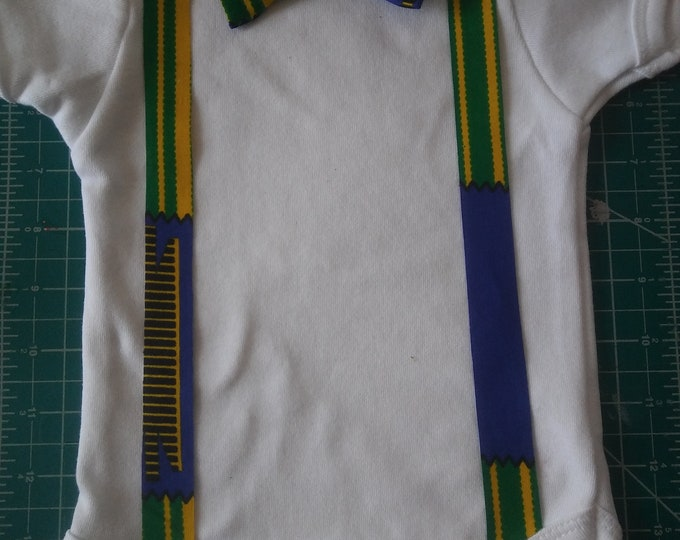 Baby Boy Onesie / Suspender Onesie /Baby Outfit / Suit Up / Gifts for Baby / Jumpers with Suspenders / Culture Guyana