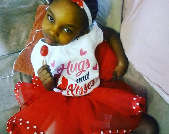 Valentine's day ribbon trimmed tutu set( headbow is free as per request)