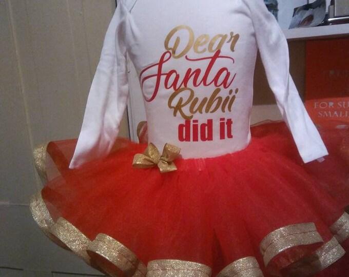 Red And Gold Tutu - Ribbon Trim Tutu - Toddler Christmas - Baby Girl Christmas Tutu - Christmas Tutu - Holiday Tutu