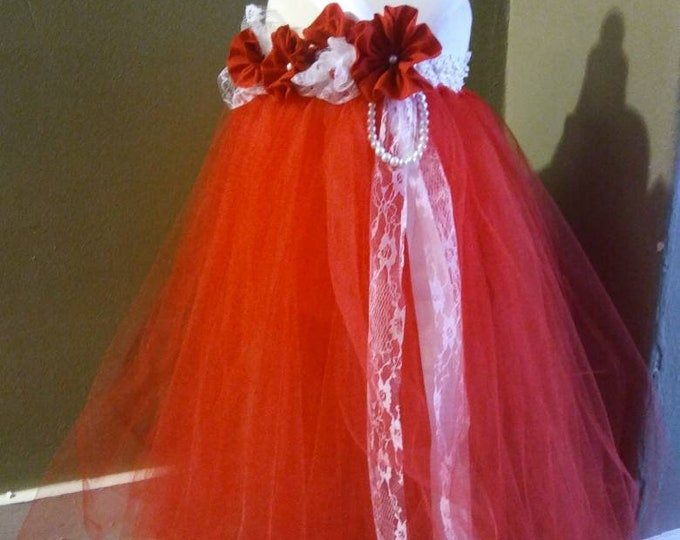 Valentine's Day Red Flower Girl Tutu Dress, Red And white lace flower girl Tutu Dress, Red Tutu Dress, Flower Girl Dress Red