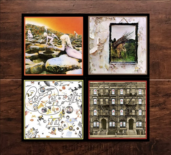 Classic Rock - Led Zeppelin Album Cover Set of 4 Ceramic Tile Coasters -  1970s - Vivid Colors & Great Quality