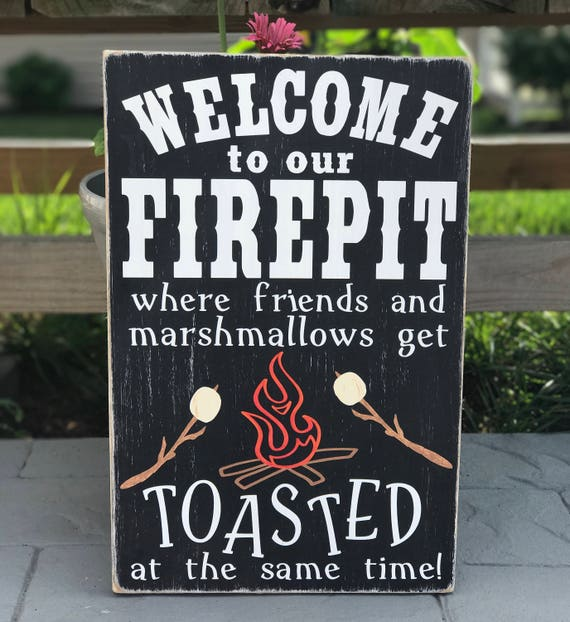 Welcome To Our Firepit Wood Pallet Sign