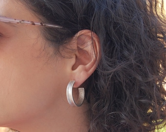 Antique Silver Thick Hoop Earrings, Hoop silver earrings, Minimalist dainty hoop earrings,Geometric hoop earrings,Trend minimal silver hoops