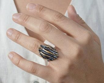 Bohemian Parallel Black-Gold Sticks Ring, Long Modern Hammered Carved Delicate Floral Leaf Stackable Adjustable Ring, US size 6.5-7.5 inch