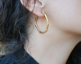 Bright Gold Thick Hammered Hoop Earrings, Large Hoops, Minimalist Dainty Geometric Trend Minimal Bohemian Modern pin earrings, gift for her