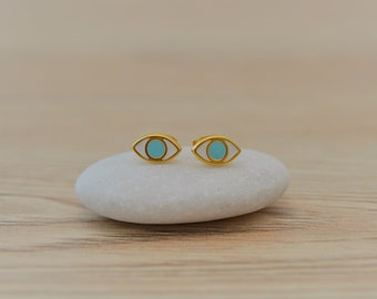 Gold EVIL EYE Protection stud earrings, Gold enamel protection studs push back earrings, Indian, yoga jewelry, Xmas, Mother's Day gift