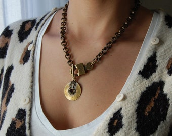 Chunky brass chain choker necklace, T Clasp Locket Chain Necklace, Toggle Closure, Punk Rock Biker Bronze jewelry, Trace chain necklace