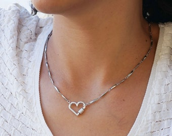 Antique Silver HEART stainless steel bar linked chain necklace, Punk Rock Biker Style Modern jewelry, Trace chain necklace Cool gift for her