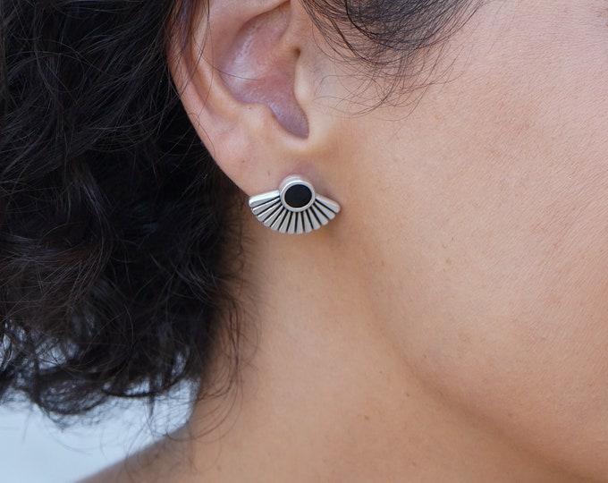 Ethnic Silver Earrings with Black/Turquoise Enamel Rhombus, Boho thick hoops, Bohemian Dainty Tribal statement hoop earrings, gift for her