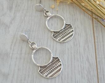 African Tuareg Shield Earrings, Silver dangle earrings, Bohemian Ethnic Tribal earrings, statement earrings, silver Tuareg jewelry